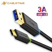 CABLETIME Tipo C Cabo USB 3,0 para xiaom de USB-C Tipo C 3A Rápido de Cabo de Carregamento Telefone Móvel párr dispositivos USB C007