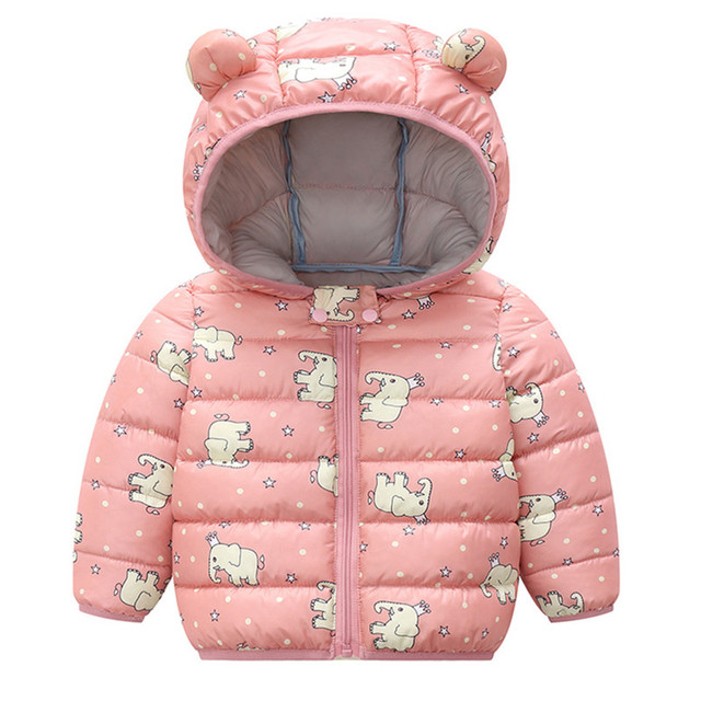 Hooded Baby Coat with Dinos Print and Bear Ears 6