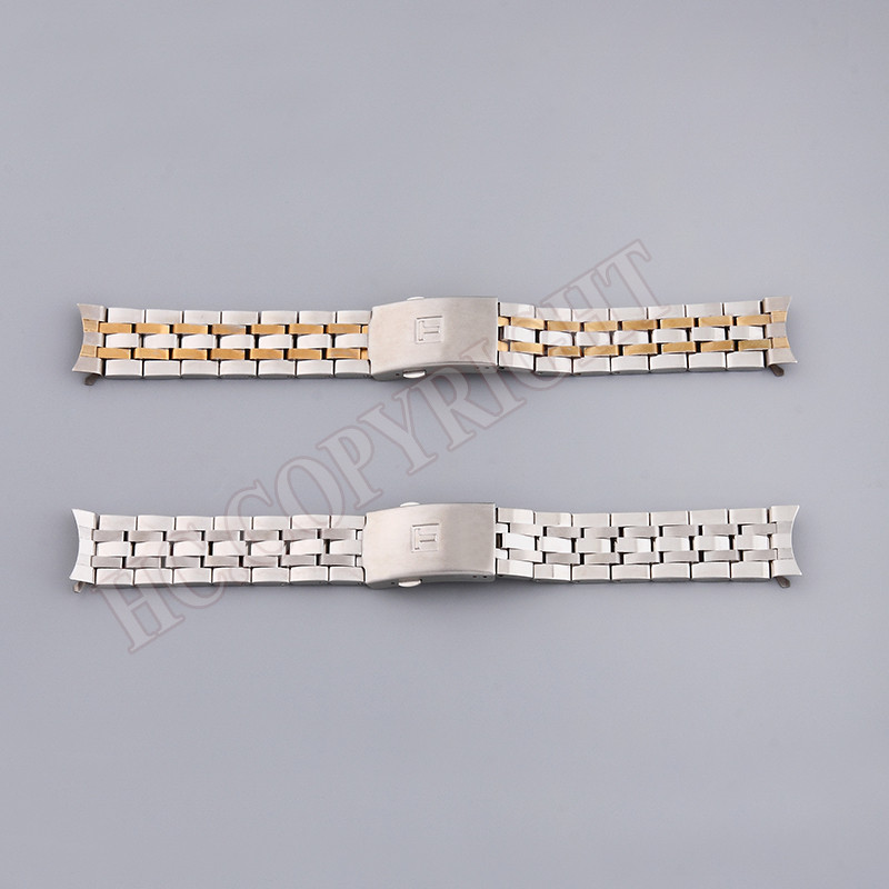 Multi Style Solid Silver & Gold Stainless Steel <font><b>Strap</b></font> 19mm 20mm Curved End Watch Band Bracelet Fit For <font><b>PRC200</b></font> T17 T41 T461 T014 image