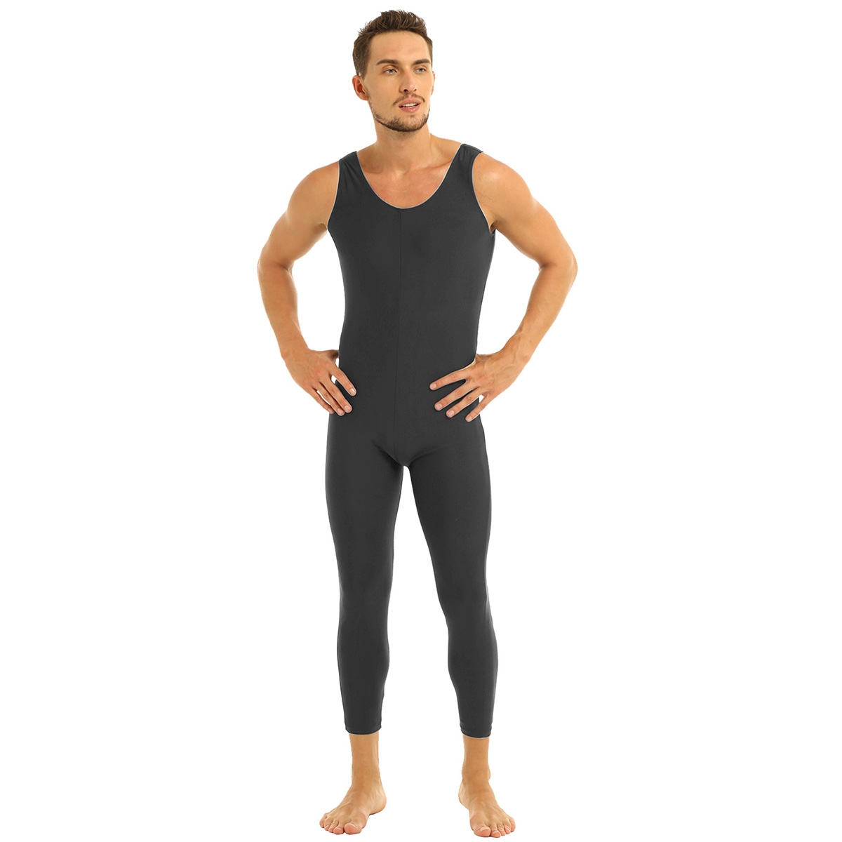 Men Sleeveless Leotard Bodysuit Lycra Tights Leggings for Ballet Dance Vest Teddy Sports Unitard Catsuit Male Dancewear Jumpsuit 16