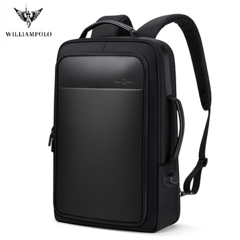 WilliamPolo Backpack Male Large Capacity Business Casual Multifunctional Travel Bag Computer Bag 17-inch Student Backpack 145