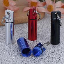 1 Pc Waterproof Aluminum Pill Box Medicine Case Container Bottle Holder Keychain Carabiner Outdoor Pill Case Pillbox 4 Colors(China)