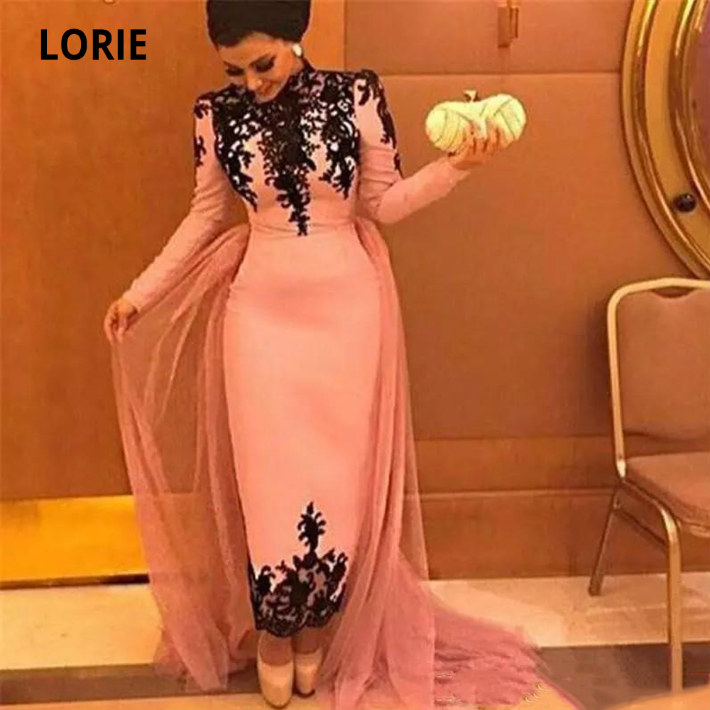 LORIE 2020 Vintage Blush Pink Muslim Evening Dresses With Long Sleeves Black Lace Appliques Prom Dresses Formal Gowns High Neck