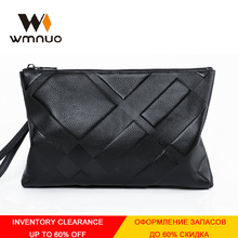 Wmnuo Envelope Bag Men Hand Bag Genuine Leather Cowhide Wristlets For Male Plaid Embossing Clutch Wallet Men Business Bag