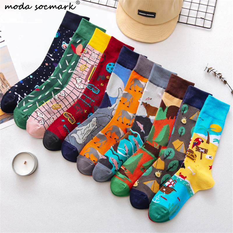 Moda Socmark 2019 Autumn New Happy Socks Men/Women Funny Cartoon Long Socks Fashion Couple Sock Brand Casual Skateboard Socks