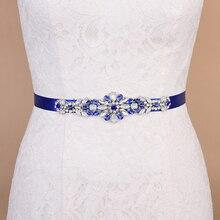 Пояс TRiXY S424 королевский синий бриллианты стразы узкие Кристалл свадебные подружки невесты Платья