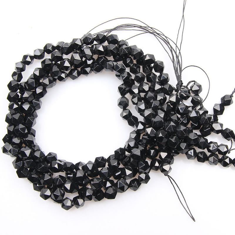Wholesale Natural agates Loose Round Faceted Stone Beads Black Onyx For Jewelry Making Bracelet 6/8/10mm Pick