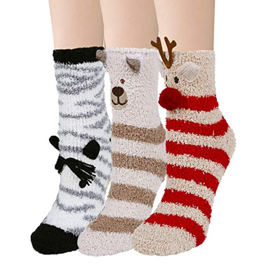 3 Pairs warm socks women Fuzzy Socks Warm Soft Slipper Home Sleeping Cute Animal Socks chaussettes femmes женские носочки#A25 Socks  - AliExpress