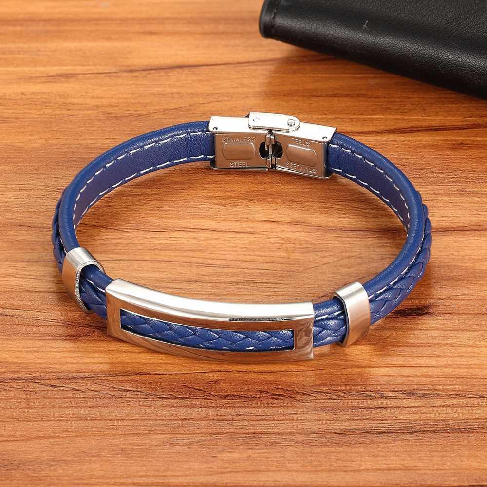 Xqni Stainless Steel Aksesoris Multi Warna Persegi Panjang Kombinasi Bahan Kulit Warna Biru untuk Pria Klasik Gelang Peringatan Hadiah