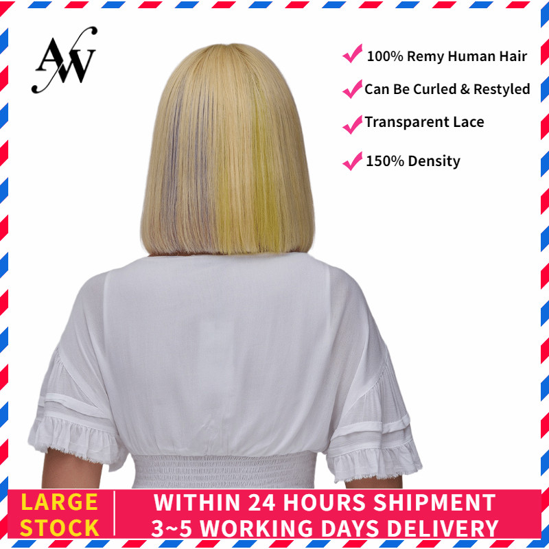AW 12'' Blond Rainbow Straight Bob Remy Human Hair Wig 150% Density HD Transparent Pre Plucked Hairline Half Lace Wig For Women