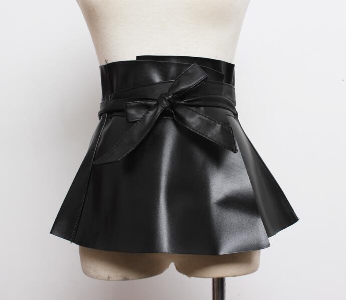 Women's Runway Fashion PU Leather Cummerbunds Female Dress Coat Corsets Waistband Belts Decoration Wide Belt R1805
