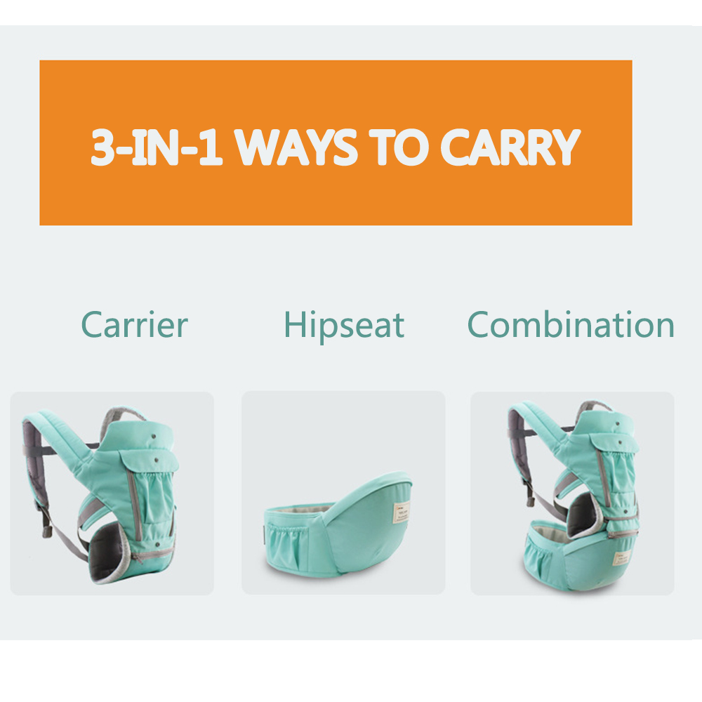 Ergonomic Baby Carrier Comfort Hipseat 6 in 1 Kangaroo Baby Wrap Carrier for Infant Kid Baby Travel 0-36 Month