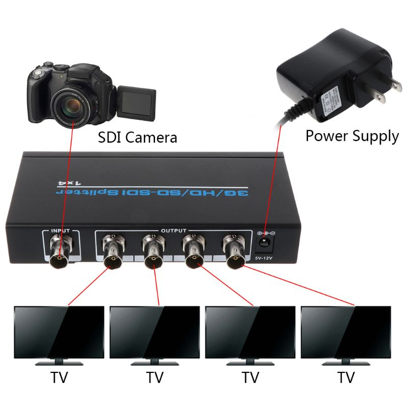 NK-S114 3G/HD/SD/SDI 1x4 Splitter Video Switch Switcher For DVD HDTV Xbox Device Accessories AXYF