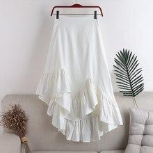 2021 New Spring Elastic Waist Zipper Patchwork Women Skirts Ruffles Irregualr Slim Female Midi Skirts Black White Jupe Femme