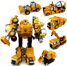 Transformation Robot Car Metal Alloy Engineering Construction Vehicle Truck Assembly Deformation Toy 2 in 1 Robot Kid Toys Gifts alloy robot transformation car toys alloy deformation p olice robot bus toy for kids children birthday christmas gift