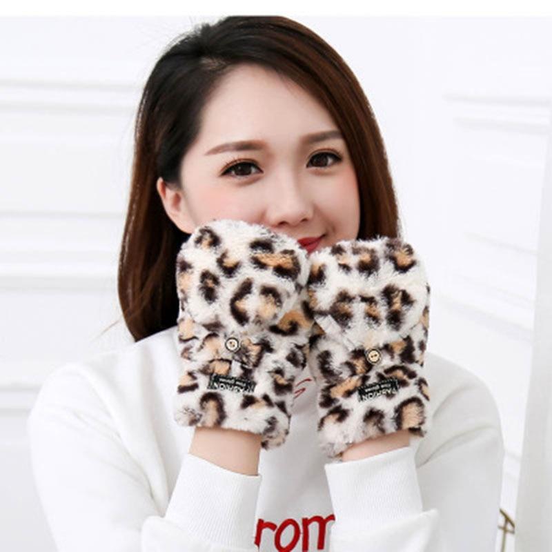 Women Cute Cartoon Leopard Pattern Half Finger With Lid Flap Mittens Winter Female Plush Warm Fingerless Touch Screen Gloves E20