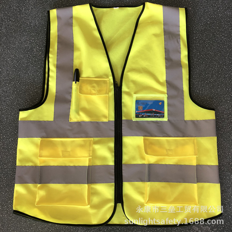 Manufacturers Direct Selling Reflective Vest But Lettering Multi-pockets Reflective Clothing Traffic Construction Waistcoat Refl