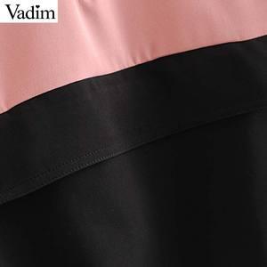 Image 5 - Vadim женские шикарные Лоскутные толстовки с капюшоном с длинным рукавом с завязками свободные пуловеры Женская верхняя одежда повседневные топы HA491