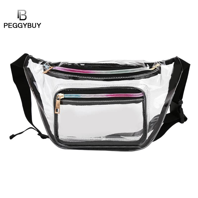 Brand Design Transparent PVC Waist Packs Women Girls Casual Pouch Fanny Chest Clear Shoulder Bags Trendy Ladies Waist Bag Bolso