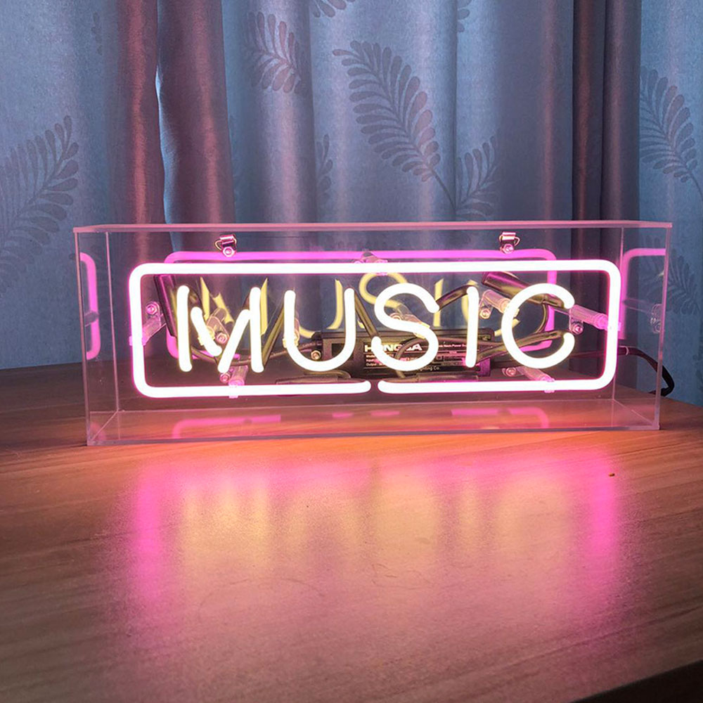 Waterpoof Small Music Neon Lights Sign With Clear Acrylic Box Pink White Neon Lights For Rooms Study Hotel