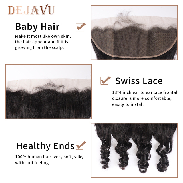 Dejavu Brazilian Hair Weave Bundles With Frontal Closure 13*4 Inch Human Hair 3 Bundle Deals Loose Wave Non-Remy hair 6