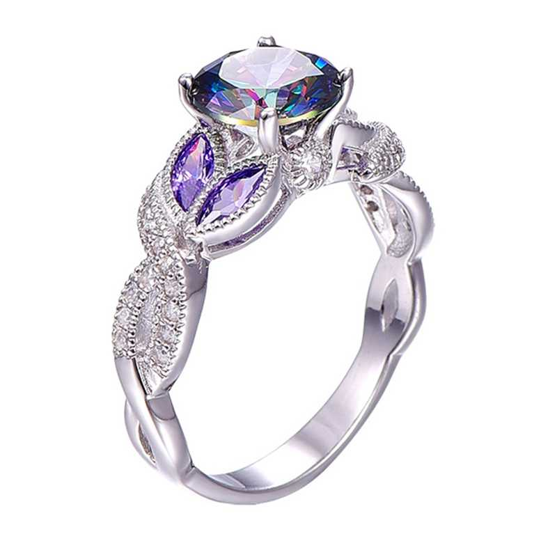 Fashion Silver Color Ring Purple AAA Zircon Jewelry For Women Engagement Wedding Gift Bague Bijoux Size 5 6 7 8 9 10