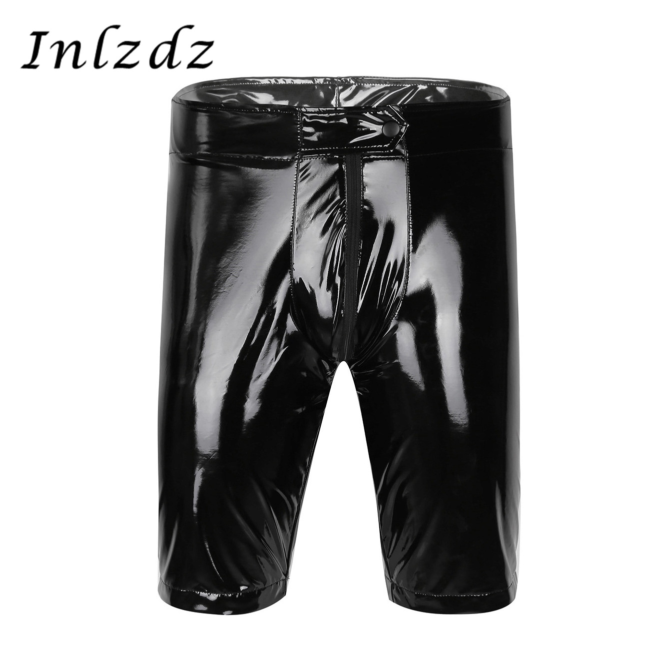 Mens Welook Patent Leather Zippered Open Crotch Boxer Shorts Half Pants With Bulge Pouch