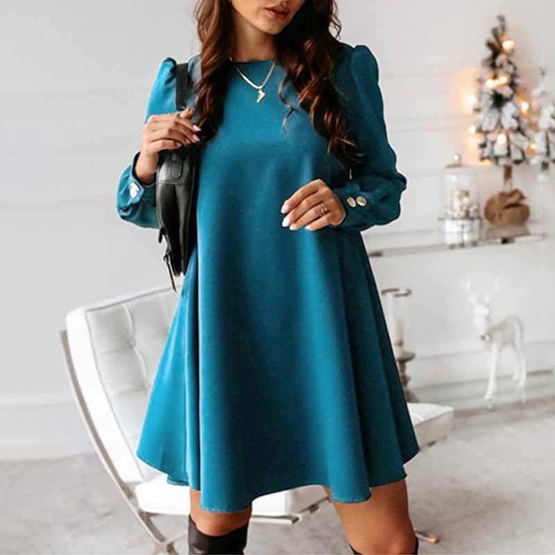 Women Back Metal Buttons O-neck Shirt Mini Dress Summer Long Sleeve Elegant A-Line Tunics Female 2020 Spring Dresses Plus Size