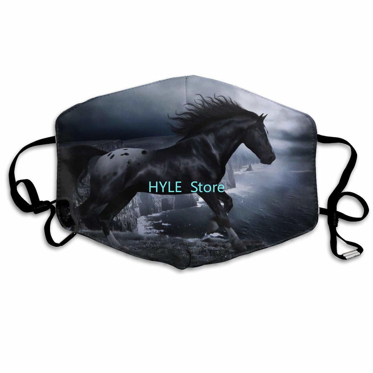 Cool Black Horse Anti Dust Half Face Mask Fashion Reusable Washable Breathable Mask Adjustable Elastic Earloop For Adults Kids