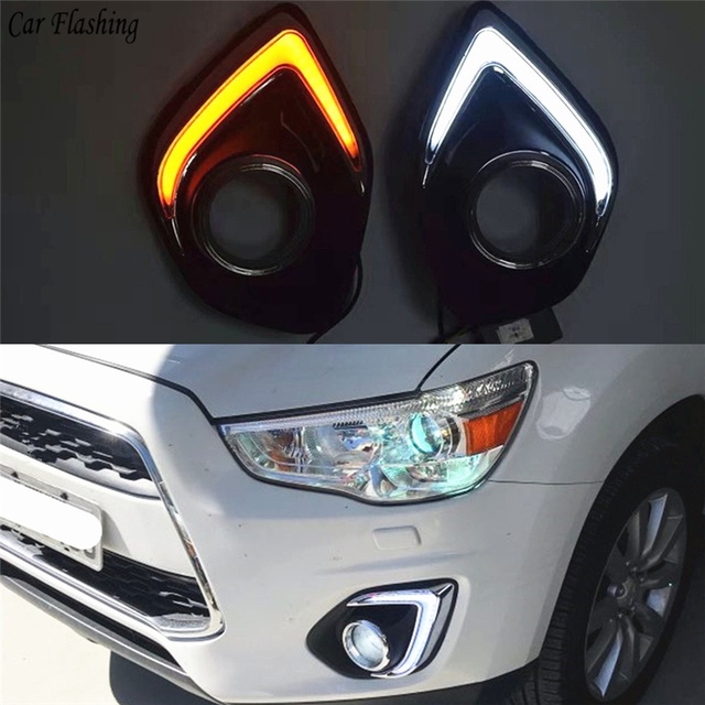 1Set LED DRL COB Daytime Running Lights Daylight Waterproof Fog Head Lamp with Signal For Mitsubishi ASX 2013 2014 2015