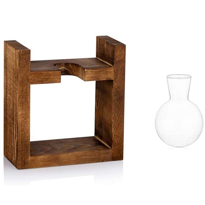 Propagation Station Glass Planter Vase Terrarium Tabletop Plants Desktop Spherical Shape Glass Vase Wooden