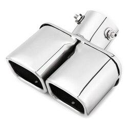 Samochód Auto srebrny ze stali nierdzewnej stalowe chromowane podwójne gniazdko rura wydechowa gardło Liner uniwersalny 63Mm wlot w Zespół spalin od Samochody i motocykle na