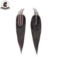 Liddy-100% de pelo humano liso con cierre de encaje, 2x6, pelo brasileño tejido, Color Natural, cierre Frontal no remy