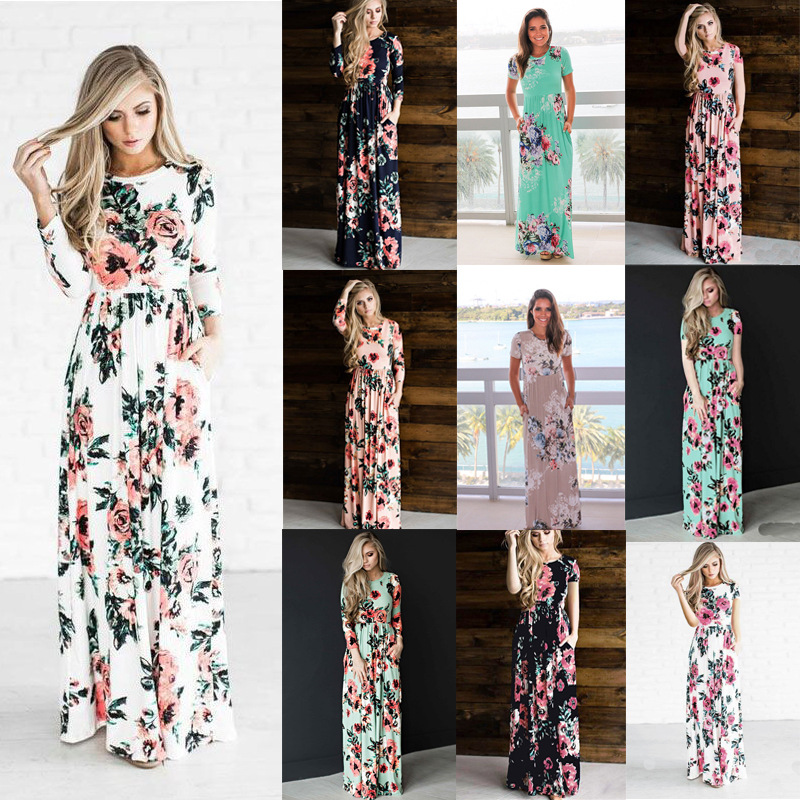 Long Dress For Wedding Party Woman Bridesmaid Multi-color Long-sleeved Elastic Waist Flower Print Large Size Prom Vestido