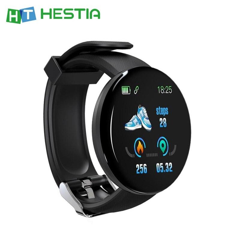 D18 Fitness Bracelet Smart Clock Color Screen IP67 Sport Watches Heart Rate Blood Pressure Measurement Health Manage Tool Black