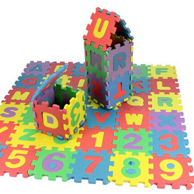 36 Pcs Baby Playing Mats Puzzle Letters Numerals Baby Kids Play Mat Children Soft Floor Crawling Rugs 15.5*15.5cm EVA Foam Mat