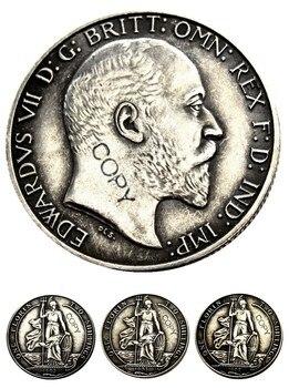 Gran Bretaña 1902 1903 1905 King Edward VII plata florín plateado copia moneda