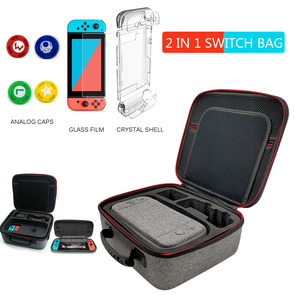 2 in 1 Nintendo Switch Case Large Capacity Nitendo Switch Accessoire Bag Nintend Switch Game Storage Portable Carrying Case