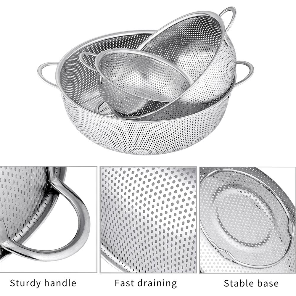 Velaze Colander Set of 3 Stainless Steel