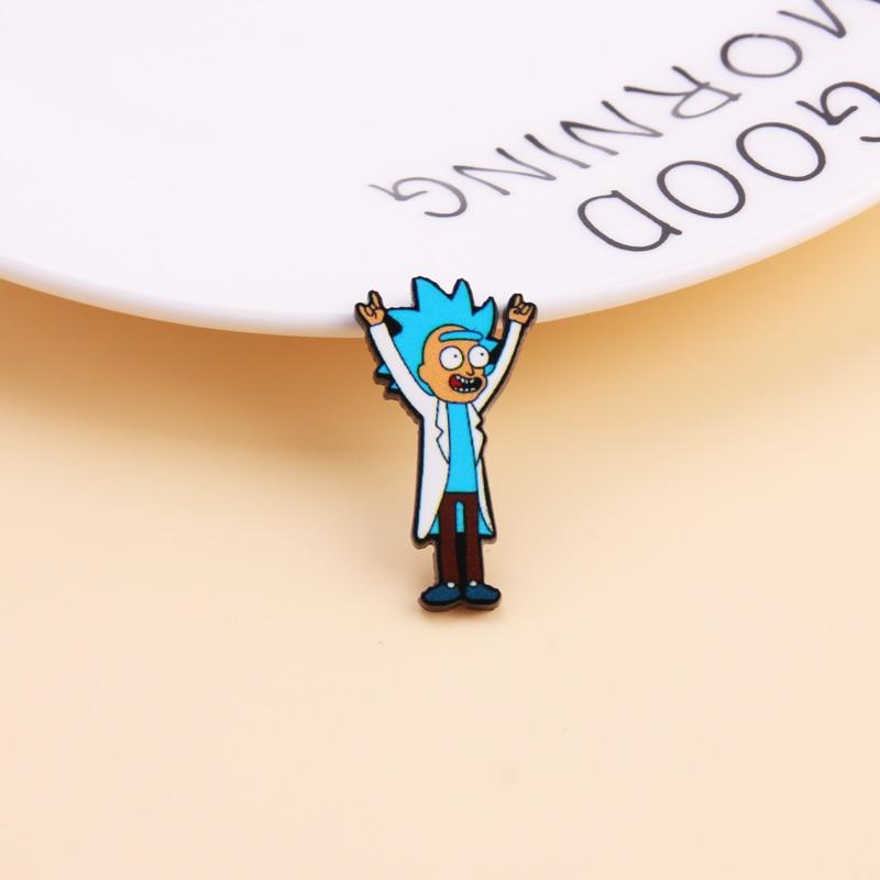 Мультфильм Рик и Морти булавка гений безумный учёный значок пуговицы брошь аниме любителей джинсовая рубашка нагрудные булавки
