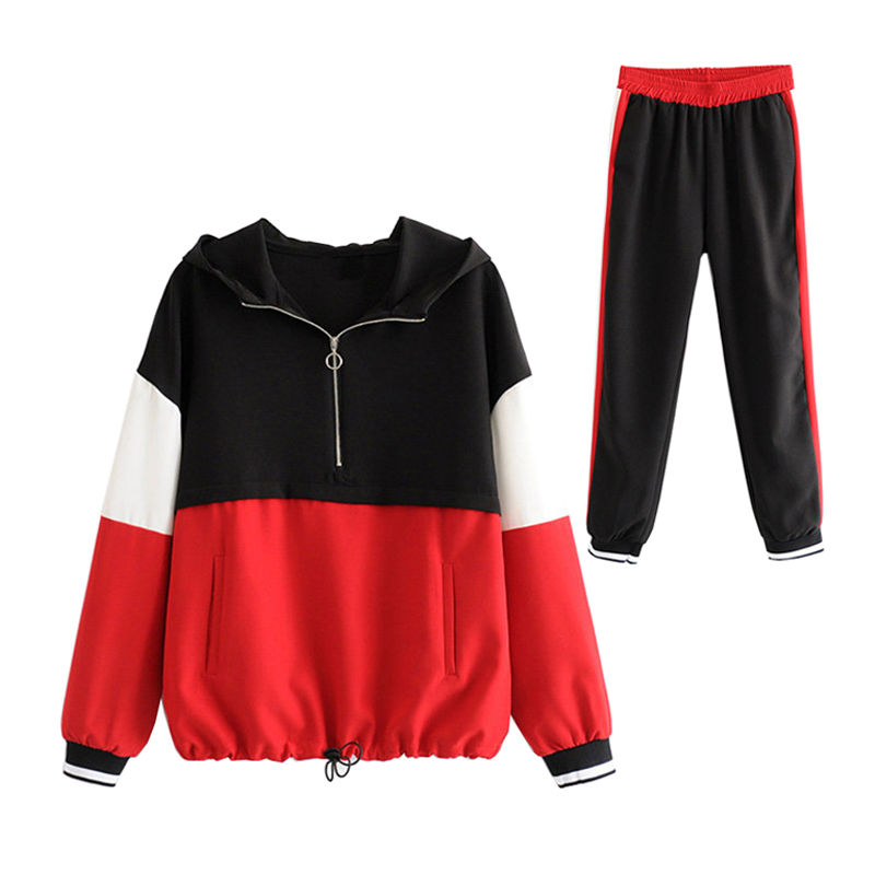 Women Sporting Suit Fashion Patchwork Tracksuit Hooded 2019 Casual Sportwear Red Track Suits Pant Twinset 2 Piece Set