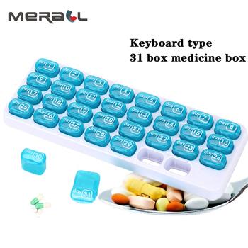 1 szt 31 dni tygodniowa porcja tabletek pigułka apteczka pudełko do przechowywania organizator pojemnik Case przenośna odporność na wilgoć pudełko na pigułki rozgałęźniki tanie i dobre opinie MERALL Przypadki i rozgałęźniki pigułka SA3075