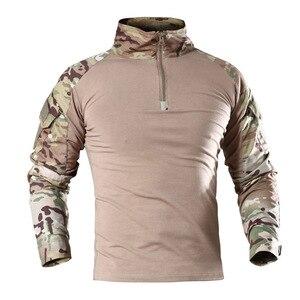 Eua camuflagem do exército t-camisa masculina ru soldados combate tático t camisa força militar multicam camo manga longa caminhadas camisetas 4xl