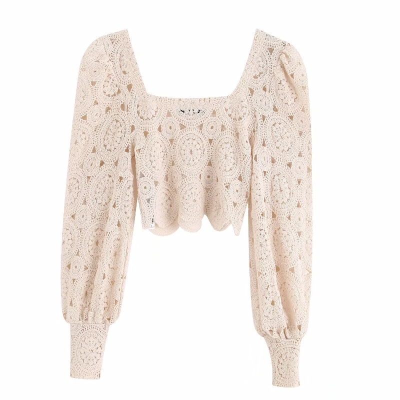 New Women Sexy Hollow Out Embroidery Lace Short Blouse Lantern Sleeve Court Shirt Female Retro Square Collar Chemise Tops LS4037