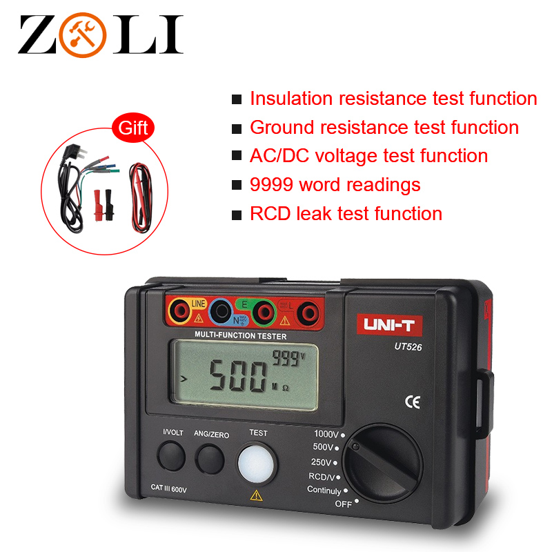 Free Shipping UNI T UT526 Multi function digital meter Electrical Insulation Tester Earth Resistance Meter RCD