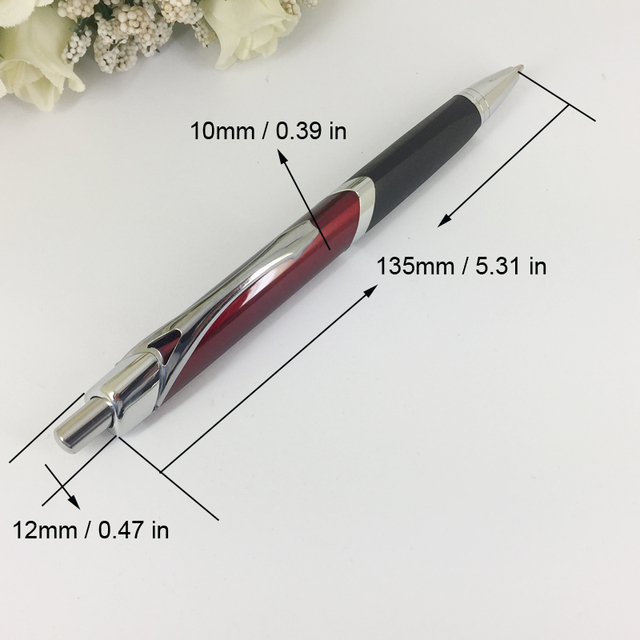 Fashionable Triangle Ballpoint Pen with Soft Rubber Grip Silver & Red Pen Retractable Press Push Writing Stationery Unisex Gifts 4