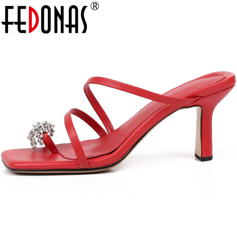 FEDONAS 2020  Rhinestone Lace Up Genuine Leather Sandals For Girls Sexy Newest High Heels Pumps Wedding Party Summer Shoes Woman