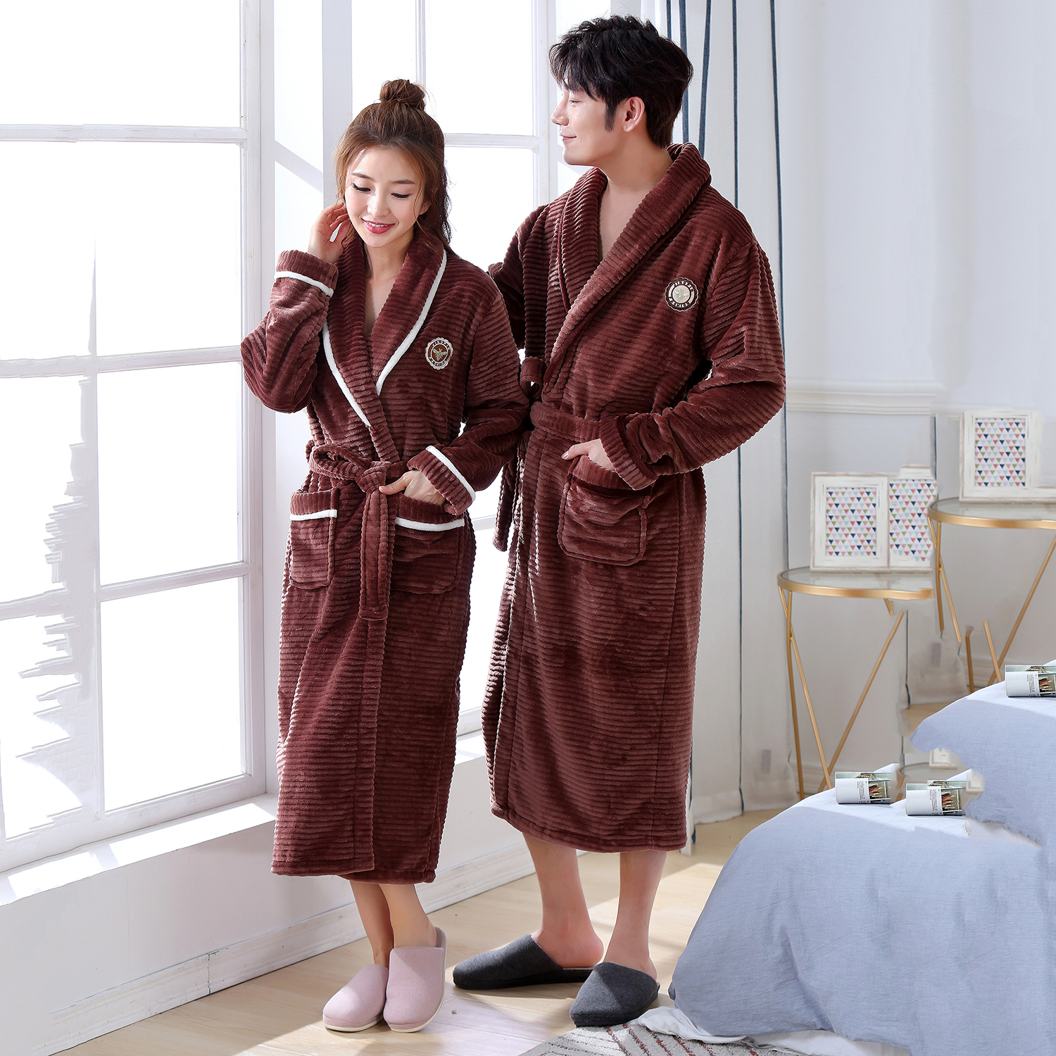 Plus Size 3XL Couple Sleepwear Robe Gown Solid Colour Home Dressing Gown Full Sleeve Intimate Lingerie Brown Sleepwear Nightgown