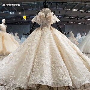 Image 1 - HTL1083 الكرة ثوب الزفاف الفاخرة الكريستال عالية الرقبة قبالة الكتف العروس روب للنوم حجم كبير جديد vestidos دي نوفيا 2020