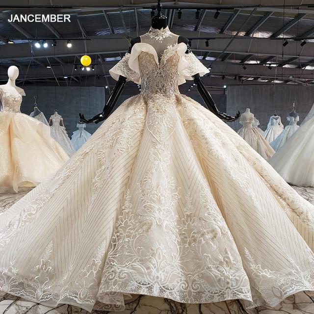 HTL1083 الكرة ثوب الزفاف الفاخرة الكريستال عالية الرقبة قبالة الكتف العروس روب للنوم حجم كبير جديد vestidos دي نوفيا 2020